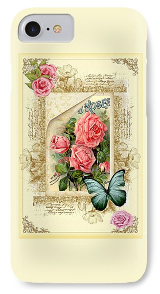 Vintage Look Roses And Butterfly IPhone Case