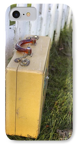 Vintage Luggage Left By A White Picket Fence IPhone Case by Edward Fielding