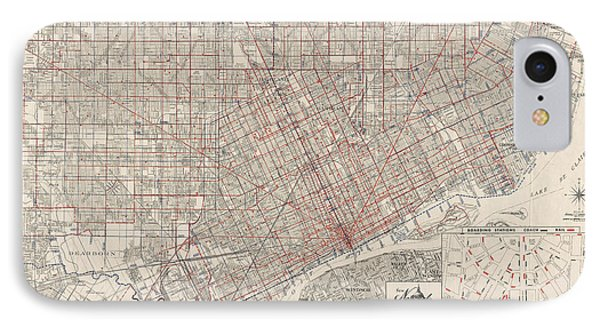Vintage Map Of Detroit Michigan From 1947 IPhone Case by Blue Monocle