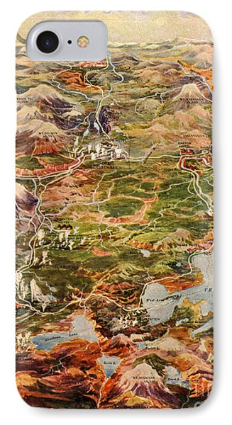 Vintage Map Of Yellowstone National Park IPhone Case by Edward Fielding