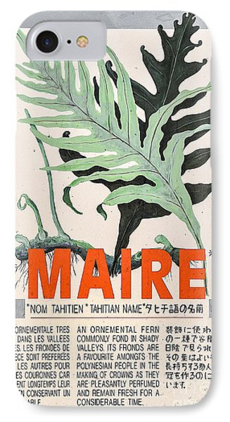 Vintage Market Sign 1 - Papeete - Tahiti - Maire - Fern IPhone Case by Ian Monk