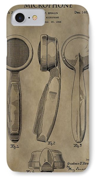 Vintage Microphone Patent IPhone Case by Dan Sproul