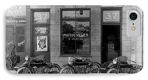 Vintage Motorcycle Dealership IPhone Case by Jon Neidert