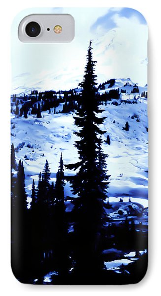 Vintage Mount Rainier With Camp Grounds In The Distance Early 1900 Era... IPhone Case by Eddie Eastwood