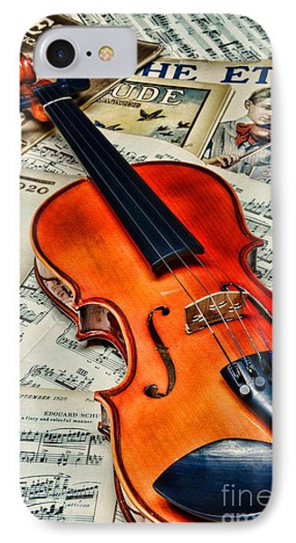 Vintage Music And Violin Phone Case by Paul Ward