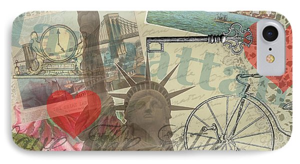 Vintage New York City Collage IPhone Case by Mary Hubley