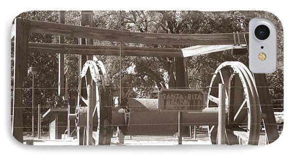 Vintage Oil Rig Santa Rita No. 1 IPhone Case by Connie Fox