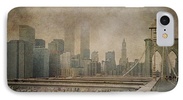Vintage Old New York City Skyline With Twin Towers And Brooklyn Bridge IPhone Case by Joann Vitali