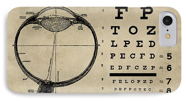Vintage Ophthalmologist Eye Chart IPhone Case by Flo Karp
