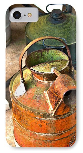 IPhone Case featuring the photograph Vintage Orange And Green Galvanized Containers by Lesa Fine