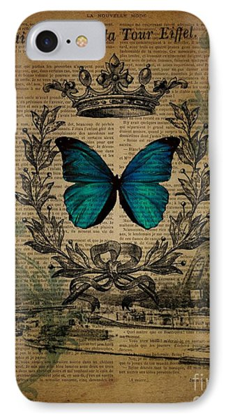 vintage paris butterfly French botanical art royal jubilee eiffel tower IPhone Case