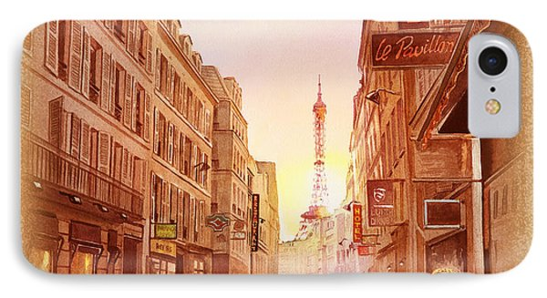 IPhone 7 Case featuring the painting Vintage Paris Street Eiffel Tower View by Irina Sztukowski