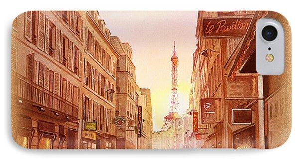 IPhone Case featuring the painting Vintage Paris Street Eiffel Tower View by Irina Sztukowski