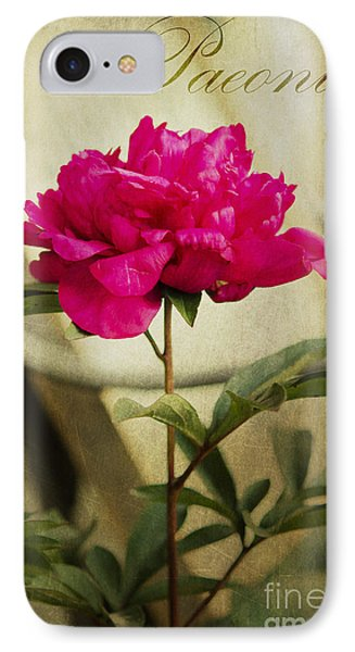 Vintage Peony IPhone Case by MaryJane Armstrong