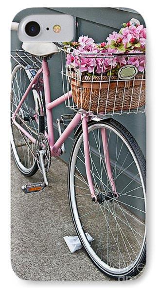 Vintage Pink Bicycle With Pink Flowers Art Prints IPhone Case by Valerie Garner