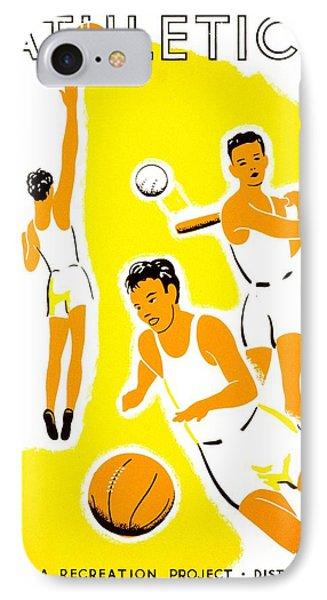 Vintage Poster - Wpa - Athletics 1 IPhone Case by Benjamin Yeager