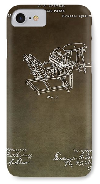 Vintage Printing Press Patent IPhone Case by Dan Sproul