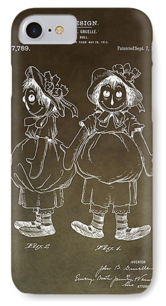 Vintage Raggedy Ann Patent IPhone Case by Dan Sproul