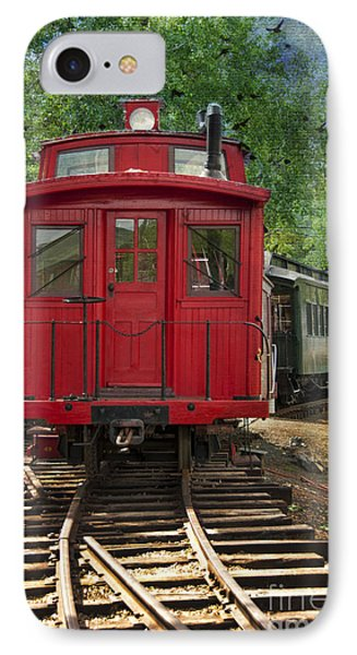 Vintage Red Train IPhone Case by Juli Scalzi