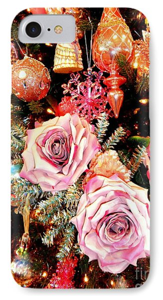 Vintage Rose Holiday Decorations IPhone Case by Janine Riley