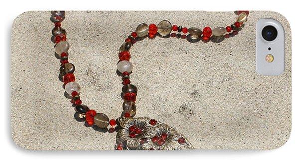 Vintage Ruby Rhinestone Flower Brooch Pendant Necklace 3633 IPhone Case