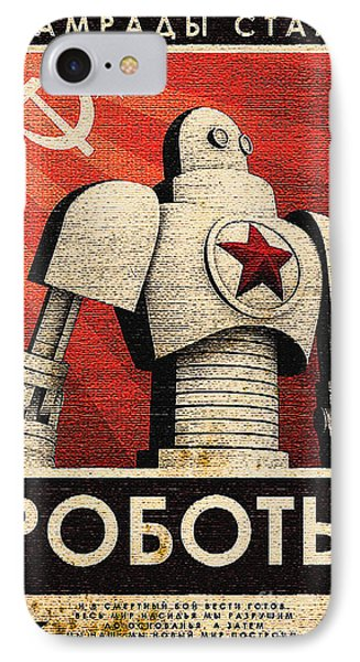 Vintage Russian Robot Poster IPhone Case by R Muirhead Art