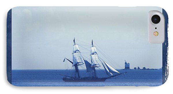 Vintage Sailing Ship Cyan IPhone Case by Dan Sproul