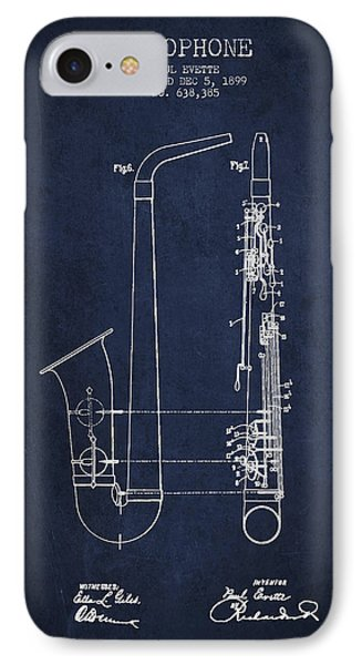 Saxophone Patent Drawing From 1899 - Blue IPhone Case by Aged Pixel