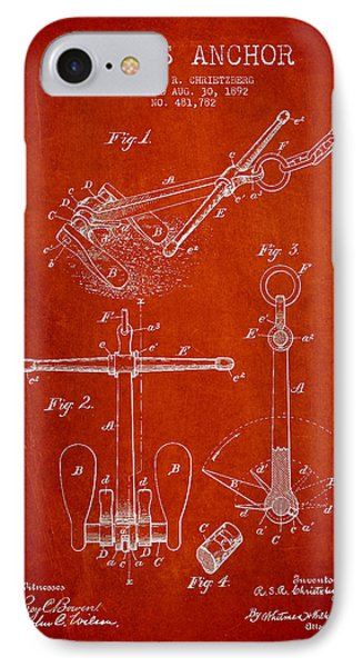 Vintage Ship Anchor Patent From 1892 Phone Case by Aged Pixel