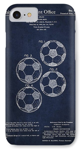 Vintage Soccer Ball Patent Drawing From 1964 Phone Case by Aged Pixel