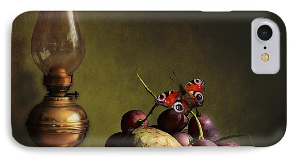 Vintage Still Life Butterfly And Fruits IPhone Case by Luisa Vallon Fumi