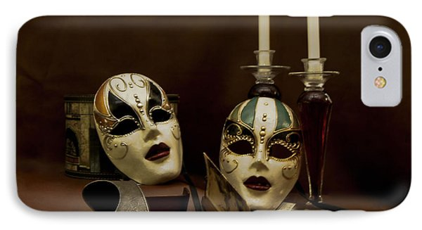 Vintage Still Life Of Venitian Mask IPhone Case by Debra Crank