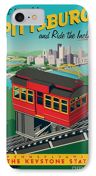 Vintage Style Pittsburgh Incline Travel Poster IPhone 7 Case by Jim Zahniser