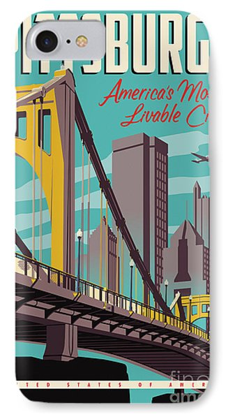 Vintage Style Pittsburgh Travel Poster IPhone 7 Case