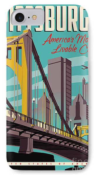 City Scenes iPhone 7 Case - Vintage Style Pittsburgh Travel Poster by Jim Zahniser