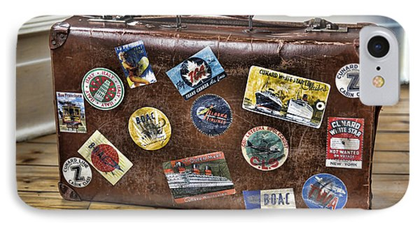 IPhone Case featuring the photograph Vintage Suitcase With Labels by Craig B