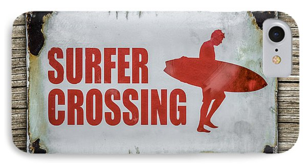 Vintage Surfer Crossing Sign On Wood IPhone Case by Mr Doomits