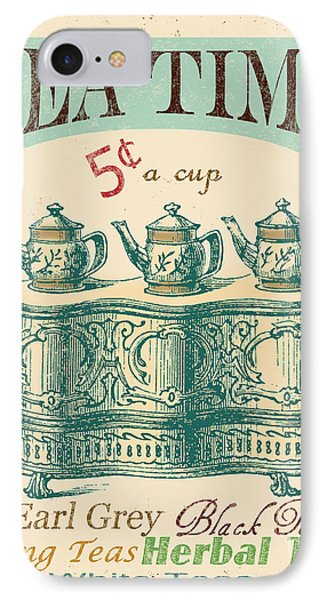 Vintage Tea Time Sign IPhone Case by Jean Plout
