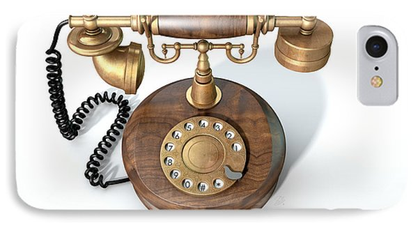 Vintage Telephone Isolated IPhone Case by Allan Swart