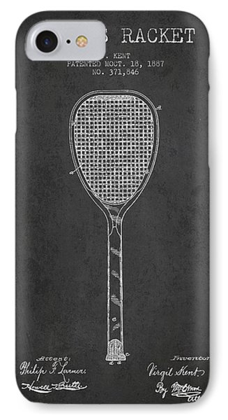 Vintage Tennnis Racket Patent Drawing From 1887-dark IPhone Case by Aged Pixel