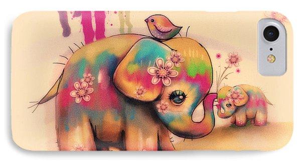 Vintage Tie Dye Elephants IPhone Case by Karin Taylor