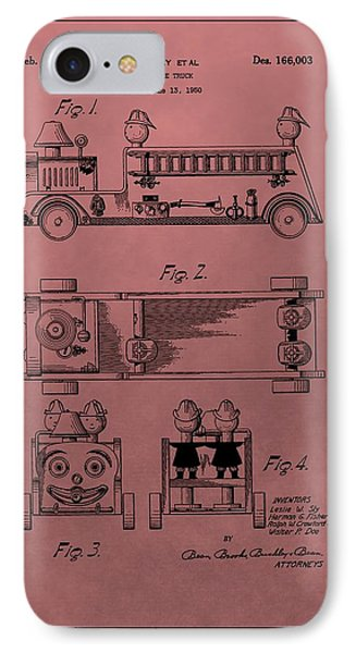 Vintage Toy Fire Truck Patent IPhone Case by Dan Sproul