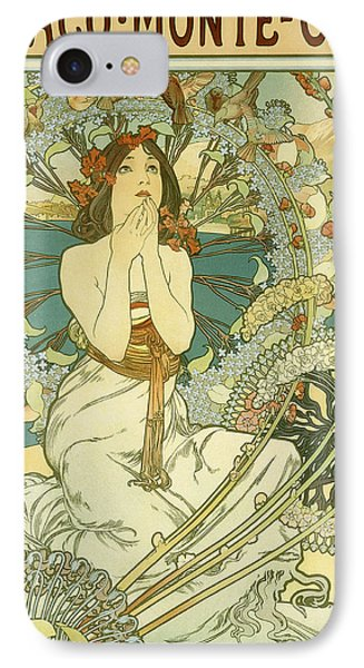 Vintage Travel Poster For Monaco Monte Carlo IPhone Case by Alphonse Marie Mucha