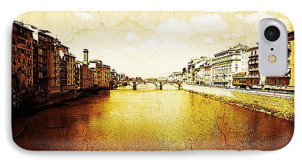 Vintage View Of River Arno Phone Case by Maggie Vlazny