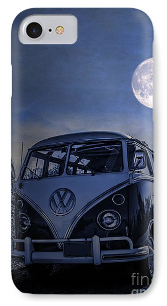 Vintage Vw Bus Parked At The Beach Under The Moonlight IPhone Case