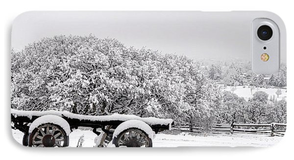 Vintage Wagon In Snow And Fog Filled Valley Phone Case by Gary Whitton