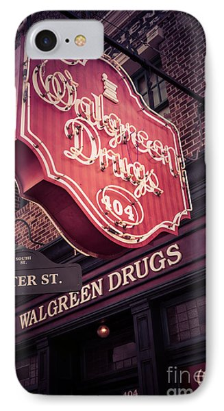 Vintage Walgreen Drugs Store Neon Sign IPhone Case by Edward Fielding