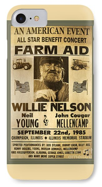 Vintage Willie Nelson 1985 Farm Aid Poster IPhone Case by John Stephens