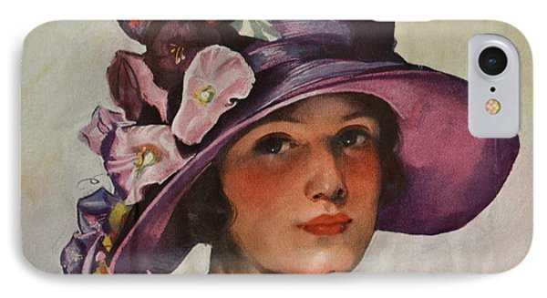 Vintage Woman In Floral Hat IPhone Case