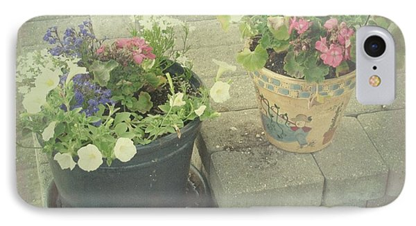 IPhone Case featuring the photograph Vintage Worn Flower Pots by Margaret Newcomb